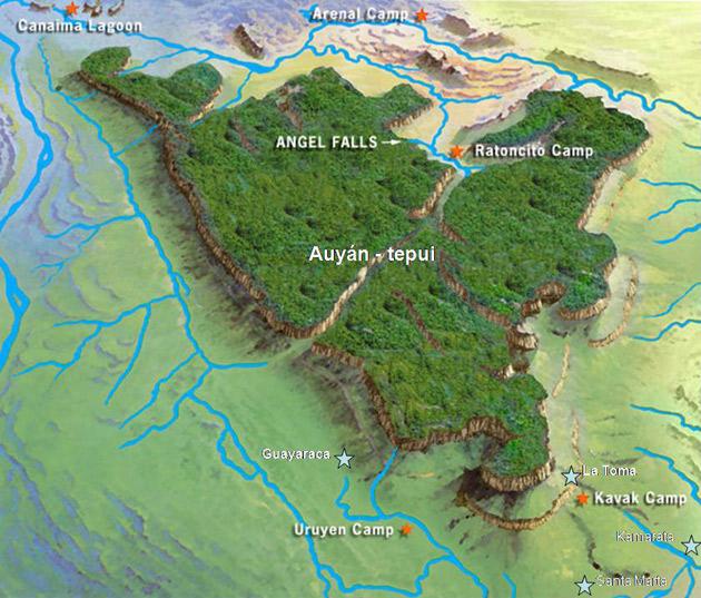 คำอธิบายภาพ : Auyantepui-Map-big